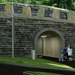 D18 Sykkeltunnel Kronstad, Inngang Gangveg